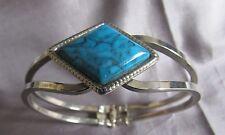 Vintage Snap On Faux Tourquiose Silver Ton Bracelet