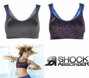 Shock Absorber Sports Bra S4490. Sizes 32-40 B-HH. Grey or Multi. Firm Support.