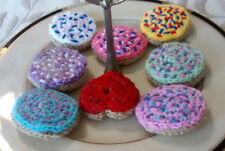 3 Hand Crochet ICED SUGAR COOKIES pretend PLAY FOOD amigurumi Dessert TOY