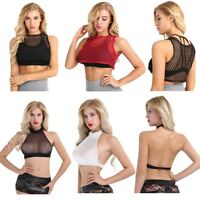 Women See Through Vest Blouse Mesh Fishnet Net Crop Tank Top T Shirt Clubwear