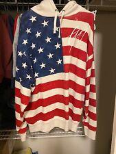 Balmain Paris x Gap Collab GQ Hoodie American Flag Pullover Hoodie Size L