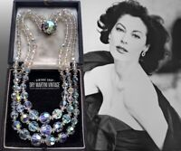 VINTAGE 1950s AURORA BOREALIS CRYSTAL TRIPLE STRAND NECKLACE RETHREADED BRIDAL