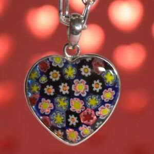 Floral Murano Glass Pendant and Sterling Silver Necklace - Valentine's Day Gift