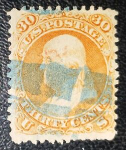 US Stamps: 1861 Scott #71 Franklin 30c Orange