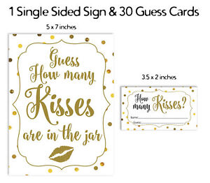 Inkdotpot How Many Kisses In The Jar Gold Confetti Bridal Shower-Kw4