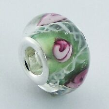 Murano Glass Bead Green 13mm High Sterling Silver Core for Charm Bracelet