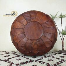 simlpe Pouf leather,pouffe,Hand Made,Boho,Moroccan,ottoman,footstool,Natural,use