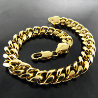 Bracelet Bangle Real 18k Yellow G/F Gold Solid Mens Heavy Bling Curb Link Design