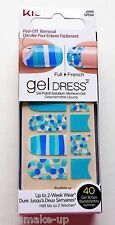 Kiss Gel Dress Full & French Nail Strips Wraps Majestic Turquoise Stripes Dots