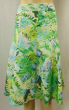 W LANE White Palm Print Linen Pull-On Panel A-Line Skirt Size 10 BNWOT # D78