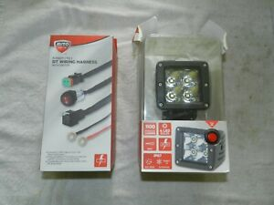 """Auto Drive 3"""" LED SPOTLIGHT & 9 Foot 1 DT Wiring HARNESS & SWITCH"""