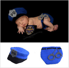 Boys & Girls Newborn Baby Infant Police PD Hat Photo Photography Props Knit