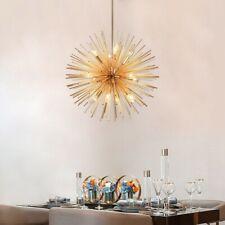 Modern Gold Starburst 12-Light Chandelier Metal Orb&Aluminum Rods Pendant Lamp