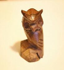 """IRONWOOD CARVING INCREDIBLE DETAIL HAND MADE  3""""  OWL  NEW IN PACKAGE"""
