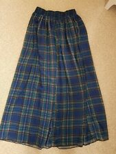American Apparel Blue, Green And Red Check Chiffon Skirt. Size M/L. BNWT