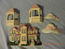 Burwood Homco Set Of 5 Victorian House 2921 Hats 2803 Gazebos 2973 Pink & White