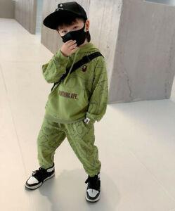 2022 New 1 Set Kids Boy Girl Animal Sport Sweatershirt Hodddie Jacket + Pant