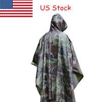 US Unisex Military Woodland Camo Ripstop Wet Weather Rain Poncho Camping Hiking