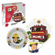 Porcelain Breakfast Set | Fireman Sam | Dinnerware 3 Pieces | Plate, Bowl & Cup