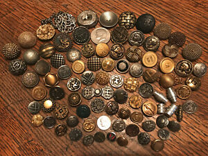 100 Buttons, Vintage, Victorian, Antique 1800's, Metal, Picture, 1 Coco-Chanel