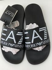 EMPORIO ARMANI EA7 Black Rubber Large EA7 Logo Sandals/Sliders Sizes 7.5-11 BNIB