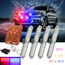Red Blue 4PCS 6 LED 12V Police Car Truck Warning Flash Wireless Remote Light Bar