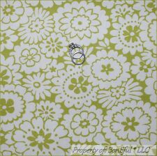 BonEful Fabric FQ Woven Decor Green White Daisy Flower Calico Dot Hippie Retro S