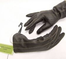 FOWNES Cashmere lined Leather Women Lady 7 Gloves Dark Brown Soft Cute Gift NEW