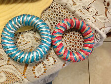 Marv Graff Raffia Pairs Lacquered Raffia Braided Bangle Bracelet HTF COLR CHEAP!