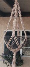 "Macrame plant hanger Hippie VTG Style hand Made  48""  art design NO beads"