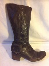 Vic Matie Brown Mid Calf Leather Boots Size 6.5 (Uk 4.5)