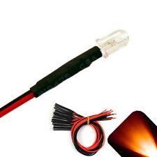 10 x Pre wired 12v 5mm Amber Orange LEDs Prewired 12 volt LED 11v 13v 14v 15v