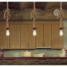 Vintage lampe chanvre corde lustre style country lateur à travers plafonnier