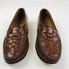 Cole Haan Bragano Mens 7.5 M Brown Leather Basket Weave Slip On Loafers Shoes