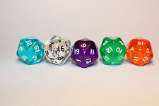 5 Würfel 20-seitig transparent Zahlenwürfel Spielewürfel Zubehör