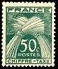"FRANCE STAMP TIMBRE TAXE N° 69 "" TYPE GERBES 50c VERT "" NEUF x TB"