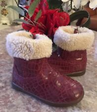 Ugg Australia Toddler's JORIE Croc Red Plum Leather Sz 9 Boots1003628T MSRP $70