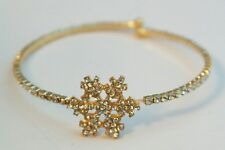 Gold Snowflake Wrap Bracelet Austrian Crystal Plated One Size Winter Gift