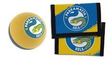 Set Of 2 Parramatta Eels Nrl Team Logo Kids Nylon Wallet & Bounce Ball