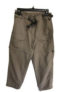 L.L. Bean Convertible Cargo Pants Mens Large Nylon Khaki Elastic Zip Off Shorts