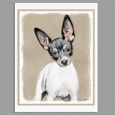 6 Rat Terrier Dog Blank Art Note Greeting Cards
