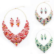 Fashion Bib Jewelry Set Bridal Wedding AAA Crystal Glass Necklace Earring Party