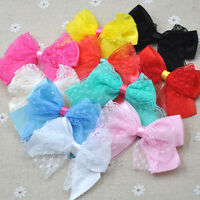 10PCS Lace Satin Ribbon Bows Flowers Appliques Wedding Doll Decor Lots Mix E286