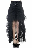 Banned Long Gothic Steampunk Bustle Corset Bustle Victorian High Skirt BLACK
