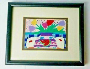 Martha Wahlert Tulip Series III Cat Series 1990 Litho Art 11 x 9 Framed Matted