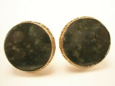 -Jade Green Stone STERLING SILVER Vintage JML Cuff Links