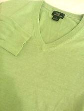 BROOKS BROTHERS Men's Long Sleeve Green V Neck Sweater Size Medium M Silk Blend