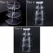 3 4 5 Tier Acrylic CupCake Stand Toppers Tower Display Cake Stand Wedding Party
