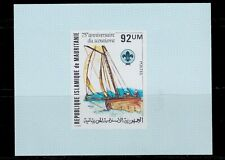 1982 MAURITANIA IMPERFORATE PROOFS DELUXE SHEET SCOUTS SHIPS SCT.498 MI.747