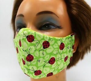 Ladybug on Green Print Washable Cloth Face Mask, Reusable Travel Facial Cover